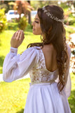lace-chiffon-short-white-wedding-dress-with-loose-sleeves-1