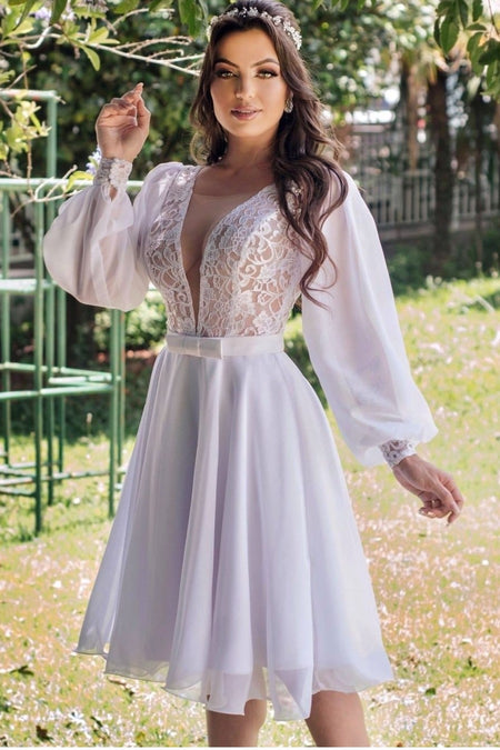 High Neck Sheath Lace Wedding Dresses Long Sleeves