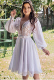 lace-chiffon-short-white-wedding-dress-with-loose-sleeves
