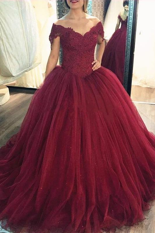 Lace Corset Tulle Burgundy Ball Gown Prom Dresses Off-the-shoulder ...