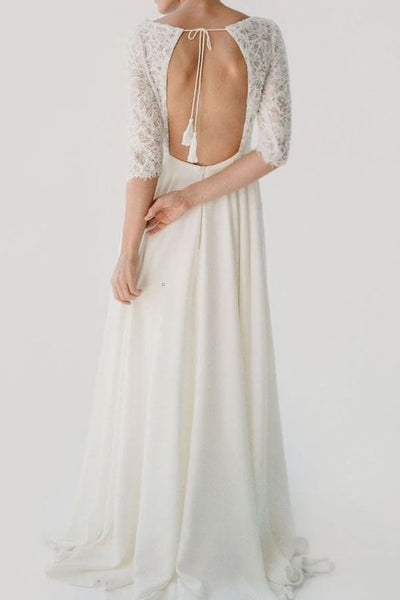 lace-elbow-sleeves-wedding-dress-with-chiffon-skirt-1
