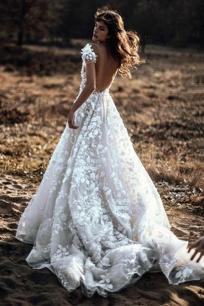 lace-floral-wedding-dresses-with-sheer-v-neckline-1