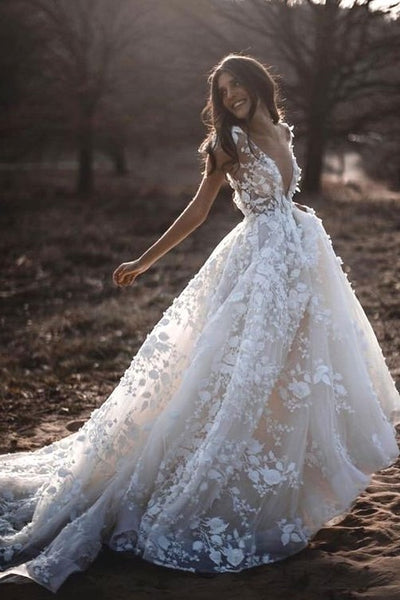 lace-floral-wedding-dresses-with-sheer-v-neckline-2