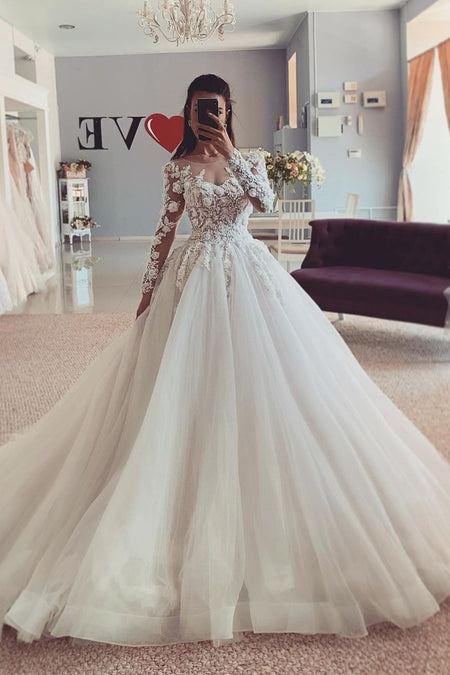 Modest Satin Long Sleeves Wedding Dress with Boat Neck