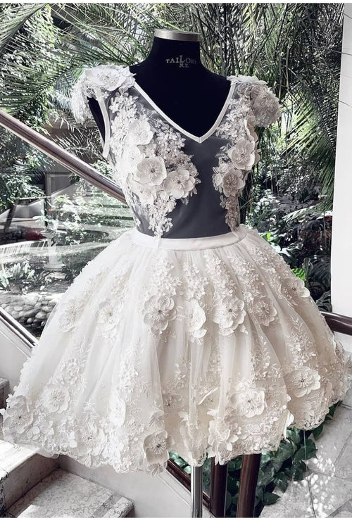 lace-flower-short-wedding-dress-with-sheer-v-neckline