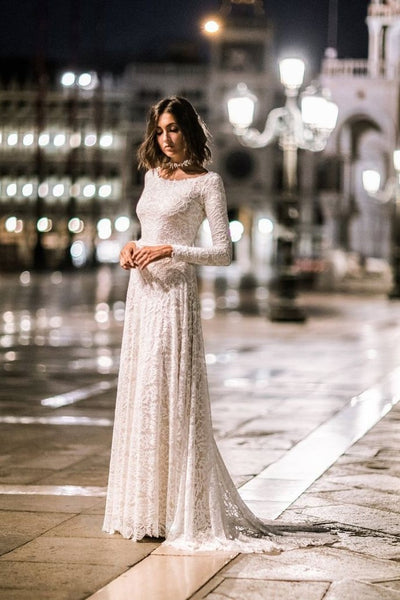 lace-full-sleeves-modest-wedding-gowns-with-sweep-train-1
