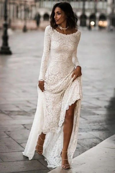 lace-full-sleeves-modest-wedding-gowns-with-sweep-train