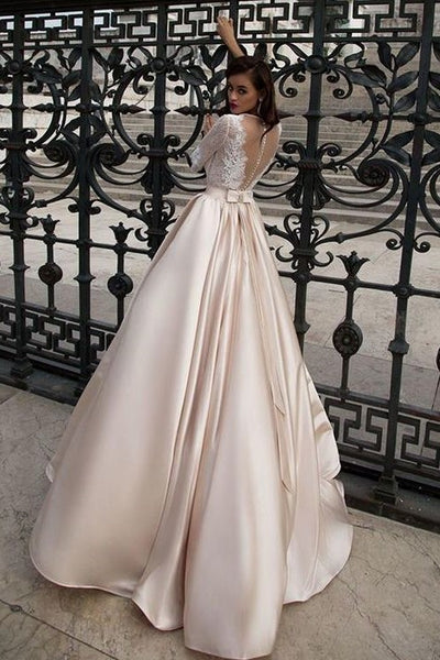 lace-half-sleeves-champagne-wedding-dress-with-sheer-neckline-1