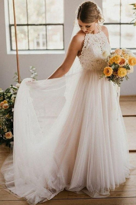 Classic Lace Capped Sleeves Wedding Dresses with Tulle Train