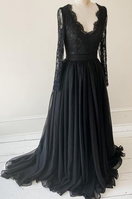 V-neck Black Chiffon Prom Dresses with Leg Slit