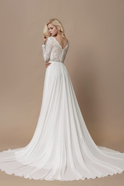 lace-long-sleeves-boho-wedding-dress-with-chiffon-skirt-1