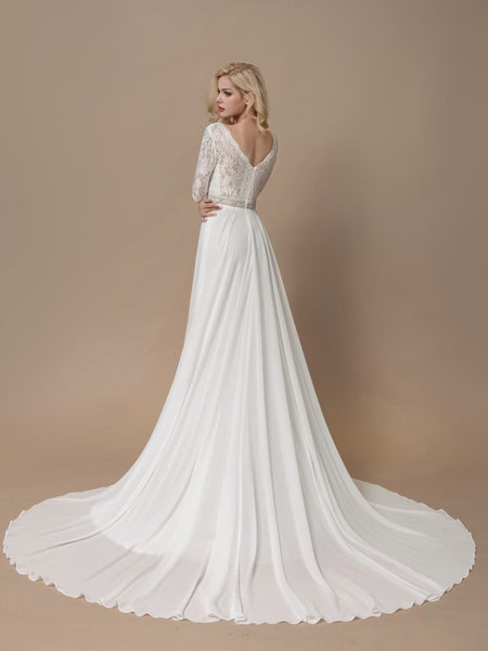 lace-long-sleeves-boho-wedding-dress-with-chiffon-skirt-2