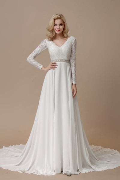 lace-long-sleeves-boho-wedding-dress-with-chiffon-skirt