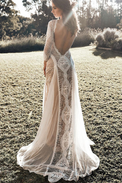 c6a990b9c79 Lace Long Sleeves Boho Wedding Dresses with Open Back – loveangeldress