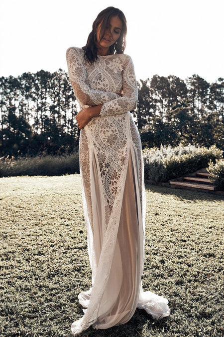 Boat Neck Long-sleeve High Low Wedding Dress 2020