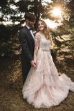 lace-long-sleeves-champagne-wedding-dresses-with-horsehair-skirt