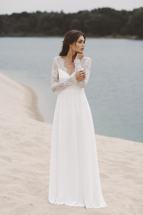 lace-long-sleeves-summer-wedding-gown-with-v-neckline