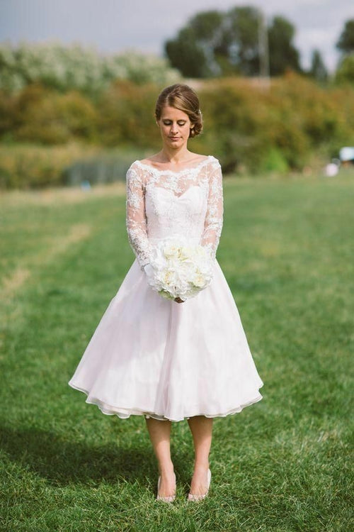 lace-long-sleeves-tea-length-wedding-dresses-with-organza-skirt