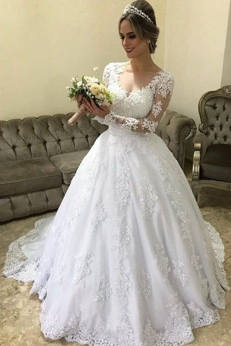 Lace Long Sleeves Winter Wedding Dress With Illusion Neckline Loveangeldress,Formal Dresses For Wedding In Pakistan