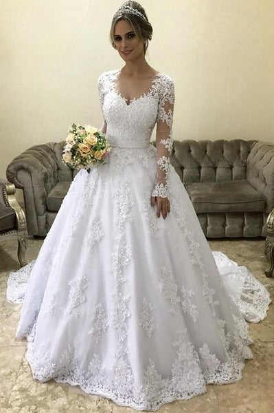 new lifestyle store biggest selection Lace Long-sleeves Winter Wedding Dress with Illusion Neckline