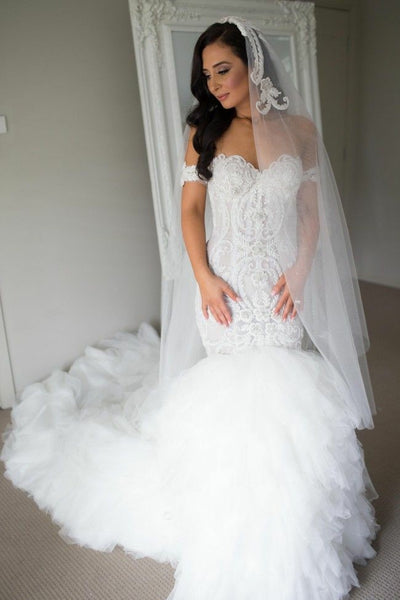 lace-off-the-shoulder-corset-mermaid-wedding-gown-with-ruffled-tulle-skirt