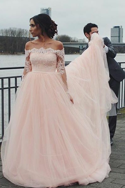 lace-off-the-shoulder-pink-wedding-gown-long-sleeves