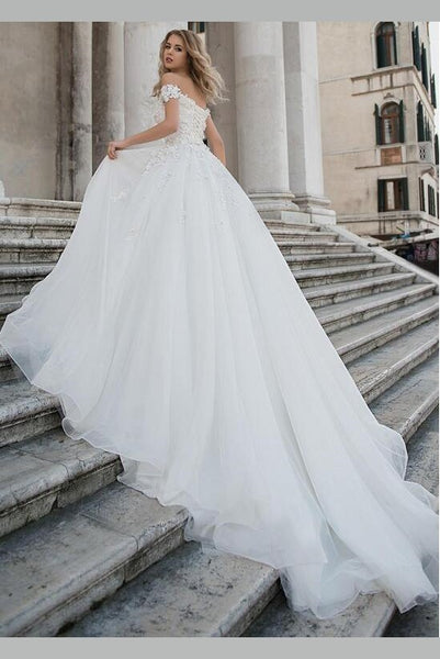 lace-off-the-shoulder-wedding-dress-ball-gown-with-bandage-bodice-1