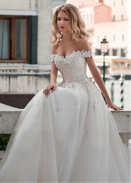 lace-off-the-shoulder-wedding-dress-ball-gown-with-bandage-bodice-2