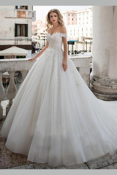 lace-off-the-shoulder-wedding-dress-ball-gown-with-bandage-bodice