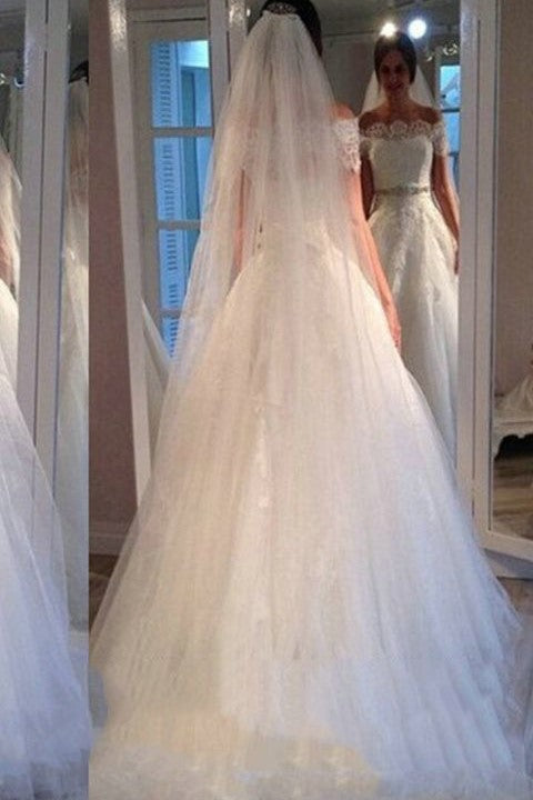 lace-off-the-shoulder-wedding-gown-with-rhinestones-belt-1