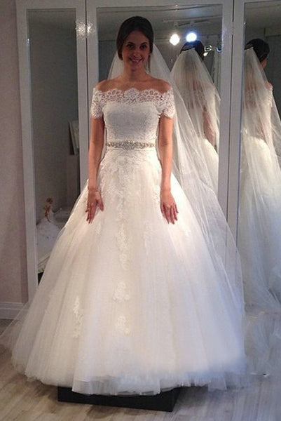 f5eb8e4e299 Lace Off-the-shoulder Wedding Gown with Rhinestones Belt ...