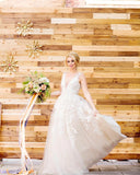 lace-pearls-sleeveless-floral-wedding-dresses-with-v-neckline-2