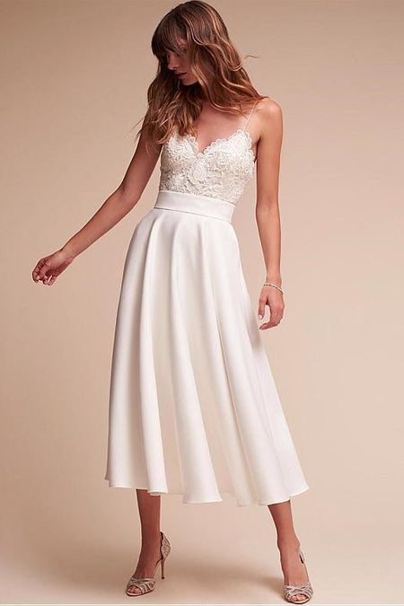 Lace Pearls Sleeveless Floral Wedding Dresses with V-neckline