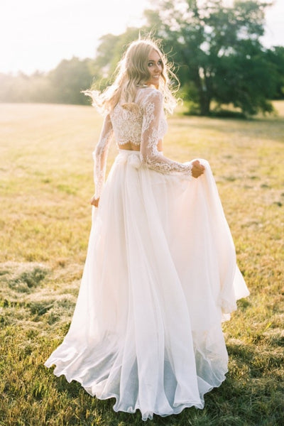 lace-separates-two-piece-wedding-dress-with-chiffon-skirt