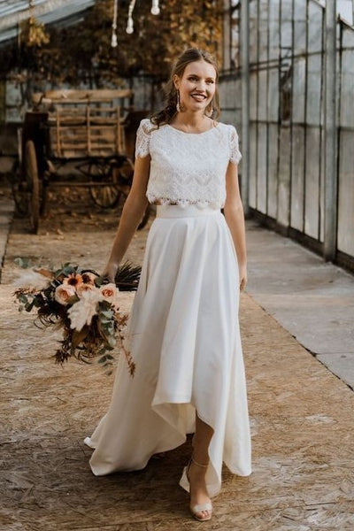 lace-short-sleeves-hi-lo-wedding-dress-satin-skirt