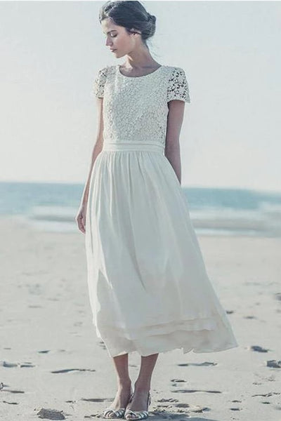 lace-short-sleeves-tea-length-bridal-dress-for-beach-weddings