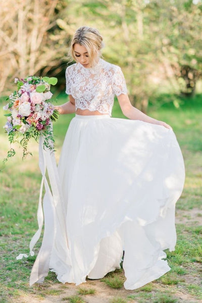 lace-short-sleeves-two-piece-wedding-dresses-with-chiffon-skirt
