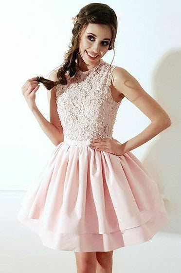 Beaded Appliqued Tulle Blush Homecoming Gown Short Party Dress