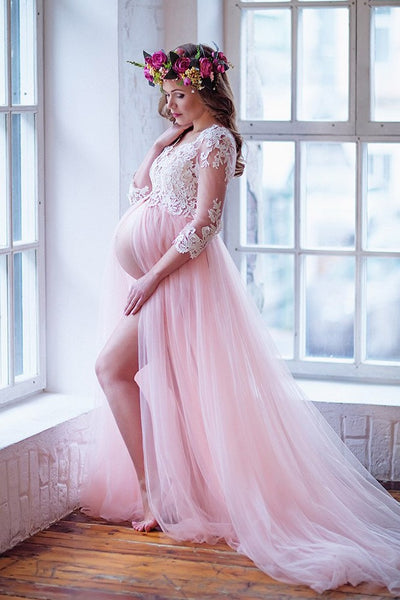 lace-sleeves-maternity-prom-dresses-with-tulle-skirt