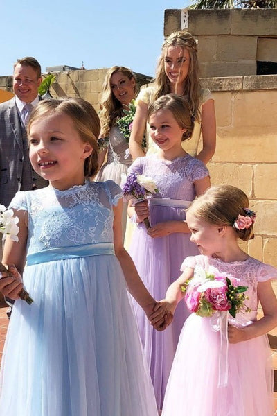b57cc0bfc4f Lace Sleeves Toddler Flower Girls Dresses with Tulle Skirt ...