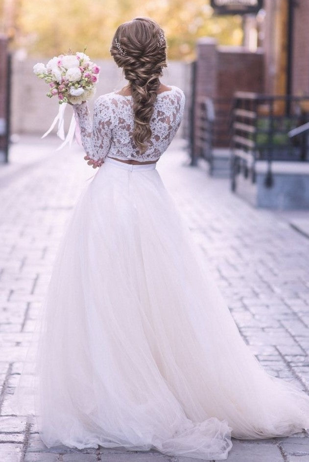 lace-sleeves-two-piece-wedding-dress-tulle-skirt-1