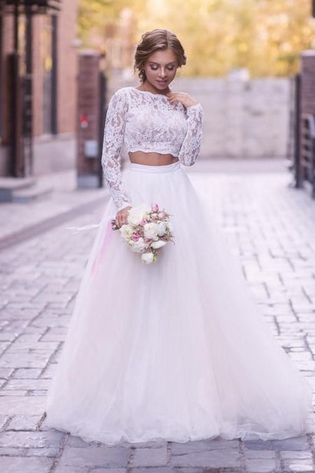 See-through Long Sleeves Ball Gown Wedding Dress Lace Tulle Cathedral Train