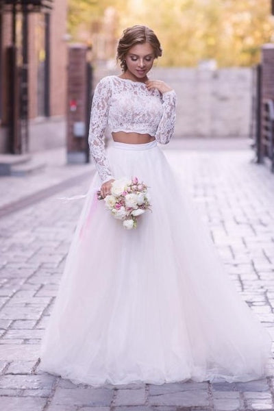 lace-sleeves-two-piece-wedding-dress-tulle-skirt