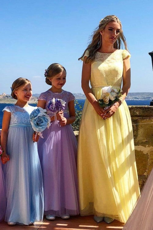 lace-sleeves-yellow-bridesmaid-dresses-with-tulle-skirt