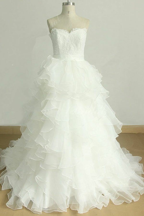 lace-strapless-wedding-gown-with-ruffled-organza-skirt