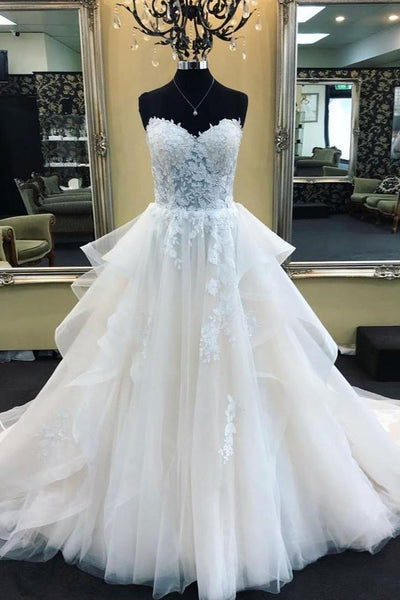 Corset Wedding Dresses.Lace Sweetheart Corset Wedding Gown Dress With Tulle Skirt