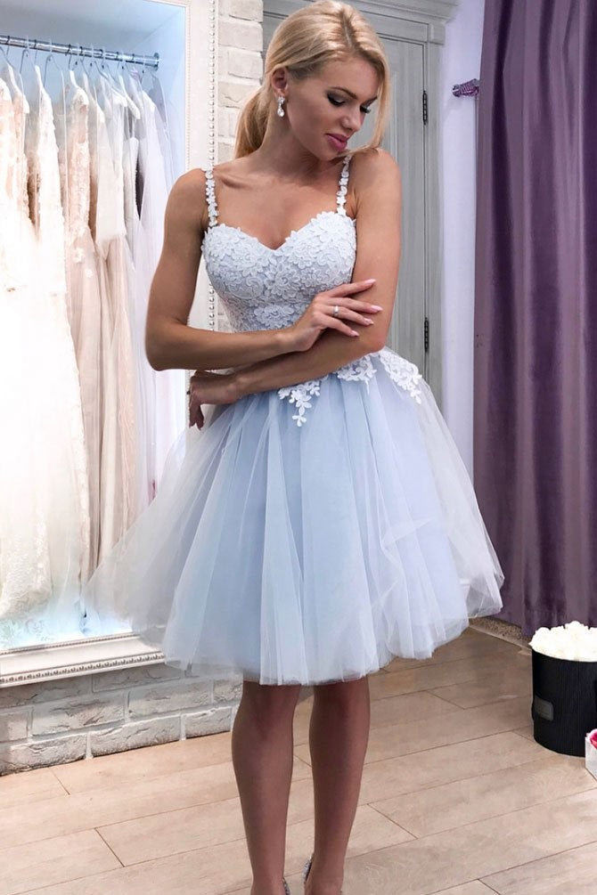 e75ab63311 Lace Sweetheart Dusty Tulle Homecoming Party Dress with Shoulder Straps