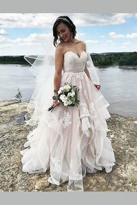 Strapless Tulle Ball Gown Wedding Dress with Horsehair Skirt