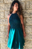 lace-teal-green-homecoming-dresses-short-chiffon-skirt