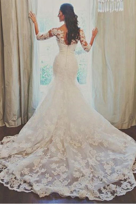 Backless Mermaid Lace Wedding Dresses with Double Straps